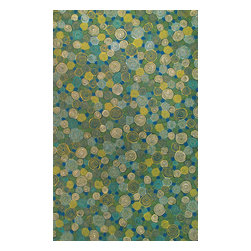 Trans-Ocean - Giant Swirls Green Rugs 3102/03 - 8'X10' - The highly detailed painterly effect is achieved by Liora Mannes patented Lamontage process which combines hand crafted art with cutting edge technology.These rugs are Hand Made of 100% Polyester fibers that are intricately blended together using Liora Manne's patented Lamontage process. They are then finished using modern needle punching and latexing processes that create a work of art that is practicalThe flat simple nature of these Lamontage rugs is an ideal base with which to create a rug that is at the same time a work of art. Perfect for any Indoor or Outdoor space, they are antimicrobial, UV stabilized, and easy care.