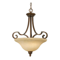 Golden Lighting - Rockefeller Pendant Bowl - The right lighting is like jewelry for your room. It might look OK without it, but it will turn heads when it's right. This jewel-like pendant light features a dark mottled bronze base with stately curves and embellishments. And the amber bowl shade covers three lights sure to dazzle in your dining room, foyer or kitchen.