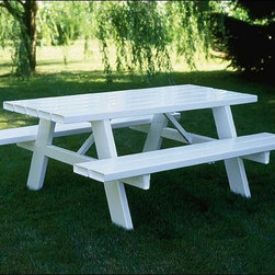 Fifthroom - Vinyl Picnic Table - For the ultimate in durability, try this attractive Picnic Table.  Constructed from maintenance-free Vinyl, it will never break, chip, warp, bend, peel, or rust, even if it's left outside in the harshest weather.  A stylish addition to your porch, deck, patio, gazebo, or backyard, this Picnic Table is available in lengths of six and eight feet.