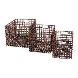 New Rustics - New Rustics Patina Storage Water Hyacinth Basket Set of 3 in Patina Stain - The Patina Collection utilizes bamboo, rattan, and water hyacinth, as well as metal, to create baskets, vases, candleholders, and mirrors in interesting shapes and sizes. Richly colored stains and patina finishes add depth and elegance to these items, making a one-of-a-kind impression.
