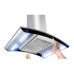 "AKDY - AKDY AK-Z10B6 Euro Stainless Steel Island Mount Range Hood, 36"" - This 36-inch ventilation hood has a powerful 3-speed motor that can be converted to a recirculating vent system. This allows you to install your ventilation systems in kitchens without directly venting to the outside. The sleek design includes double-sided electronic touch controls with an attractive display that makes it easy to use. 870 CFM threshold allows installation over most 36"" or 30"" cook tops. 3-Speed Electronic Touch Control provides intuitive operation selections. The built in Energy Saving System ensures energy efficient ventilation by automatically shutting off the vent when it is not in use. Four 8-Watt LED light bars provide energy efficient operation with brighter natural light that increases visibility over the cooking surface. The dishwasher safe grease filter helps prevent damage to the ceilings and counter tops. The design increases filtration by lengthening the path of vented air to help capture more steam grease and odors as they are drawn through the vent. Additional purchase of carbon/charcoal filter is needed for recirculation mode. Recirculation kit is optional."