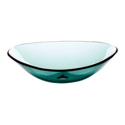 Renovators Supply - Vessel Sinks Green Glass Sweet Pea Boat Shape Vessel Sink - Glass Vessel Sinks: Single Layer Tempered glass sinks are five times stronger than glass, 1/2 inch thick, withstand up to 350 F degrees,  can resist moderate to high degrees of impact & are stain��_��__��_��__��_��__proof. Ready to install this package includes FREE 100% solid brass chrome-plated pop-up drain, FREE machined 100% solid brass chrome-plated mounting ring & silicone gasket.  Measures 22 1/2 in. long x 15 1/8 in. wide x 6 3/4 in. deep x 1/2 in. thick.