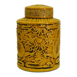 Golden Lotus - Chinese Yellow Relief Double Dragons Pottery Jar - This is a hand made ceramic jar with decent hand made motif of dragon on the body. The surface is glazed with yellow color.