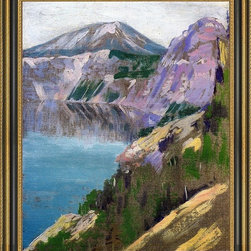 """Art MegaMart - Arthur Wesley Dow Crater Lake - 16"""" x 20"""" Framed Premium Canvas Print - 16"""" x 20"""" Arthur Wesley Dow Crater Lake framed premium canvas print reproduced to meet museum quality standards. Our Museum quality canvas prints are produced using high-precision print technology for a more accurate reproduction printed on high quality canvas with fade-resistant, archival inks. Our progressive business model allows us to offer works of art to you at the best wholesale pricing, significantly less than art gallery prices, affordable to all. This artwork is hand stretched onto wooden stretcher bars, then mounted into our 3 3/4"""" wide gold finish frame with black panel by one of our expert framers. Our framed canvas print comes with hardware, ready to hang on your wall.  We present a comprehensive collection of exceptional canvas art reproductions by Arthur Wesley Dow."""