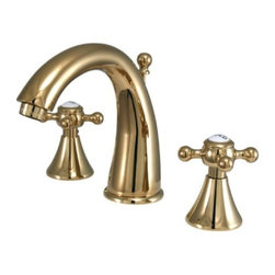 "Kingston Brass - Two Handle 8"" to 16"" Widespread Lavatory Faucet with Brass Pop-up KS2972BX - Two Handle Deck Mount, 3 Hole Sink Application, 8"" to 16"" Widespread, Fabricated from solid brass material for durability and reliability, Premium color finish resists tarnishing and corrosion, 1/4 turn On/Off water control mechanism, 1/2"" IPS male threaded shank inlets, Ceramic disc cartridge, 2.2 GPM (8.3 LPM) Max at 60 PSI, Integrated removable aerator, 5-1/2"" spout reach from faucet body, 6"" overall height.. Manufacturer: Kingston Brass. Model: KS2972BX. UPC: 663370070471. Product Name: Two Handle 8"" to 16"" Widespread Lavatory Faucet with Brass Pop-up. Collection / Series: English Country. Finish: Polished Brass. Theme: Contemporary / Modern. Material: Brass. Type: Faucet. Features: Drip-free ceramic cartridge system"