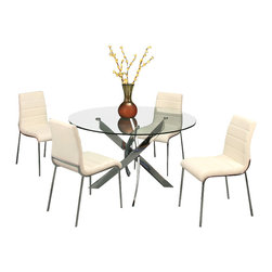 """Pastel Furniture - Pastel Fahrenheit 5-Piece Round Dining Room Set with Fort James Side Chairs - The Fahrenheit dining table with 47"""" round glass top with a unique and intricate chrome base design. This beautifully made table will add style and beauty to your dining area. The fort James side chair exemplifies handsome proportions and bold design. With simple lines mixed with curves for comfort, this beautiful chair adds style and elegance to the dining experience. The chair is upholstered in PU ivory or PU black with a chrome frame."""