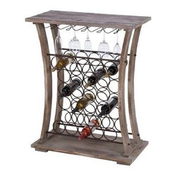 "Benzara - Tall Wood Metal Wine Bar 40""H - Tall wood metal wine bar 40""H, 32""W. Some assembly may be required. Size: 32 Wide x 16 Depth x 40 High (Inches). Material: Premium grade metal alloy and quality wood *Color: Natural wooden brown and black * Sturdy; Great storage, Saves space at bar counters; Makes the drink serving impressive."