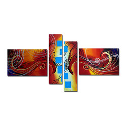 DESIGN ART - 'Colorful Abstract' 4-piece Orange Abstract Painting - This beautiful,abstract 4-piece painting is 100-percent hand-painted in high quality oil paint on canvas. The canvas is mounted on sturdy wood subframes and will add a contemporary touch to your home.