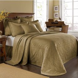 Historic Charleston Collection - King Charles Matelasse Birch Twin Bedspread-Only - - Steeped in Historic Charleston?s rich, classic style and decorative arts culture, the King Charles 100% cotton matelass� bedding collection offers a unique blend of European, Caribbean, and Asian influences.   - King Charles matelass� bedding offers a luxuriously soft bedspread, coverlet, bed skirt, shams and decorative accent pillows featuring classic 19th century motifs representing the sun, a topiary, a pheasant, and a pineapple.   - The superior design of the King Charles matelass� bedding ensemble can be traced back to England circa 1820, incorporating key influences from that time period including the fine arts and superior craftmanship.   - Each piece is crafted individually on special weaving looms to create the luxurious design that defines this lovely matelass� bedding collection.   - Highs and lows created during the jacquard weaving process allow the intricate designs and motifs to come to life.   - Designs from the archives of Historic Charleston?s heritage, were interpreted to create the lovely King Charles bedding set.   - Rolling arches, half-moons, double diamonds and scrolling vine details wrap around the classic topiary, pheasant, sun and pineapple motifs.   - Coverlet and bedspread drape beautifully over the bed to reveal rounded corners.   - Pair the bedspread or coverlet with bed skirt to create a complete look.   - Add coordinating, decorative shams and pillows to create the ultimate bedroom oasis.   - The heavy-weight, stonewashed matelass� of King Charles bedding ensures life-long durability and style for generations to come.   - Twin bedspread measures 80W x 112L.   - Crafted in Portugal.   - Stone-Washed.   - 100% cotton matelass�.   - The Historic Charleston Foundation was established in 1947 and is a nonprofit organization whose mission is to preserve and protect the historical, architectural and material culture that make up Charleston?s rich and irreplaceable heritage.   - Twin bedspread only, all other coordinating pieces sold separately.   - No decorative objects included. Historic Charleston Collection - 11182TWINBDBI