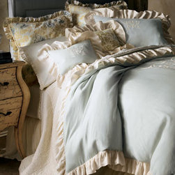 """Pom Pom at Home - Pom Pom at Home King Duvet Cover - What a great mix of textures and frills. We begin with embroidered """"Celeste"""" duvet covers and shams in pale blue and cream, then add floral """"Sofia"""" accessories for a flouncing finish. All are made of machine-washable linen. Imported. Voile dust skirts...."""
