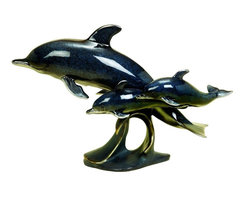 Benzara - Polystone Dolphin Nautical Table Decor with Black Color - If you are looking for low cost but rare to find elsewhere decor item to bring extra galore that could refresh the aqua decor appeal of short spaces on tables or shelves, beautifully carved 98268 POLYSTONE DOLPHIN may be a good choice.