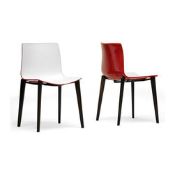 "Baxton Studio - Baxton Studio Soren White and Red Modern Dining Chair (Set of 2) - A curious amalgam of the traditional and the modern, the Soren Designer Dining Chair adds interest to your interior with its quirky style. The Soren Chair is made in China with a white ABS plastic seat featuring a red lacquer coating on the back. Dark brown solid beech legs with non-marking feet finish off this contemporary dining chair. The Soren Chair requires assembly and should be wiped clean with a damp cloth. 19.25""W x 20""D x 31.1""H, seat dimension: 17.6""W x 16.5""D x 16.8""H"