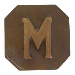"Used Vintage Monogrammed Box ""M"" - This vintage brass monogrammed box withy the letter ""M"" is for Mom, Matt, Monkey or money. Store it away with style! Brass is aged and shows wear from years of love."