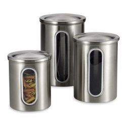 Polder - Polder Brushed Stainless Steel Window Canisters (Set of 3) - Window canisters allow you to see what is stored in each container. Handsome brushed stainless steel canisters have air-tight pop off lids.