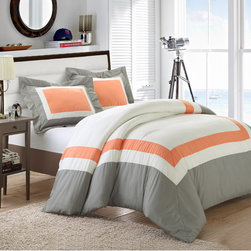 Chic - Chic Home Borders 7-piece Duvet Cover and Sheet Set - Add a subtle splash of contemporary color to your bedroom decor with the charming Borders duvet cover and sham set. Available in several color options,this machine washable bedding is complete with a crisp white 4-piece sheet set.