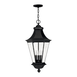 Hinkley Lighting - Senator Hanging Outdoor Lantern - Classic shapes and clean styling combine to make the Senator collection one of Hinkley's most popular outdoor collections. Comes in Black finish. Takes 3 40 Watt Candle Bulbs.