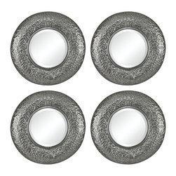 Sterling Industries - Halingsden Mini Mirrors in Hammered Metal Frame, Set of 4 - Halingsden-Set of 4 Mini Mirrors in Hammered Metal Frame by Sterling Industries