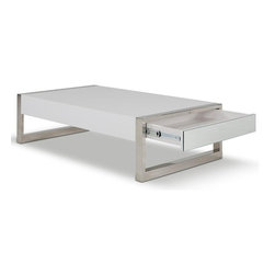 Modern Rectangular White Coffee Table with Drawers Future - Features: