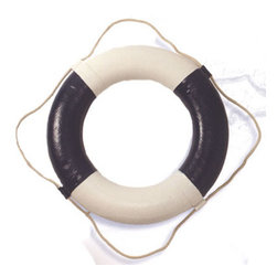 """Blue/White Life Ring (other color available) - The blue/white life ring measures 24""""Dia. It is molded from hard foam and painted blue and white. There is a rope around it to add to it's authentic look and for easy hanging. Even though this life ring looks very authentic, it should be used for decoration only. It will add a definite nautical touch to whatever room it is placed in and is a must have for those who appreciate high quality nautical decor. It makes a great gift, impressive decoration  will be admired by all those who love the sea. It is also available in white."""