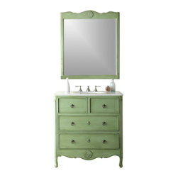 "Benton Collection - 34"" Cottage Look Daleville Bathroom Sink Vanity W/Matching Mirror - Hf081G - Dimensions: 34 x 21 x 35"" H"