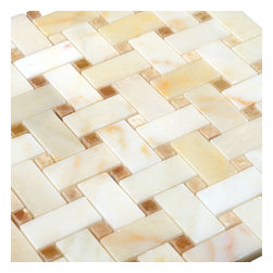 Stone & Co - Afyon Sugar - Honey Onyx Dot Basketweave Mosaic - Finish: Polished