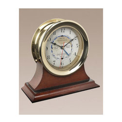 Authentic Models - Captains Time and Tide Clock - Brass cased clock shows the phases of the tide. A working instrument for the East coast. West coast tide patterns require weekly settings. Comes with instructions and write-up.   - Does not include base.   Authentic Models - SC042