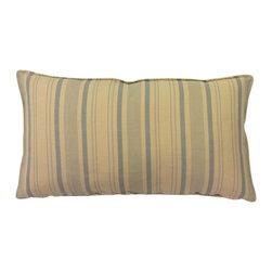 Bennison Blue Striped Pillow - Irregular light blue stripes on tea stained linen, ecru velvet back.