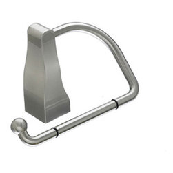 "Top Knobs - Aqua Bath Tissue Hook - Brushed Satin Nickel - Length - 1 1/4"", Projection - 3 1/4"", Ring / Hook Diameter -  6"" w/ x 3 3/4"" h, Base Diameter - 1 1/4"" w (x) 1 1/4"" h"