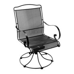 O.W. Lee Avalon Wrought Iron Swivel Rocker Dining Chair - With all the less-than-comfortable outdoor chair choices the market gives you, you're going to be very pleased when you find out that O.W. Lee Avalon Swivel Rocker Dining Chair gives you dozens of choices, and every one of them is going to be right. The wrought iron frame can be finished in your favorite classic color, while a stunning range of fabric options let you create a look for the thick seat and back cushions that you just can't find with anyone else. The wrought iron frame is designed for years of use, but instead of looking blocky and industrial it has a traditional, curved style that's a definite classic. The tight mesh on the seat and back gives you years of support, and the smooth swivel-rocker mechanism offers a full range of firm, gentle movement.Materials and construction: Only the highest quality materials are used in the production of O.W. Lee Company's furniture. Carbon steel, galvanized steel, and 6061 alloy aluminum is meticulously chosen for superior strength as well as rust and corrosion resistance. All materials are individually measured and precision cut to ensure a smooth, and accurate fit. Steel and aluminum pieces are bent into perfect shapes, then hand-forged with a hammer and anvil, a process unchanged since blacksmiths in the middle ages. For the optimum strength of each piece, a full-circumference weld is applied wherever metal components intersect. This type of weld works to eliminate the possibility of moisture making its way into tube interiors or in a crevasse. The full-circumference weld guards against rust and corrosion. Finally, all welds are ground and sanded to create a seamless transition from one component to another. Each frame is blasted with tiny steel particles to remove dirt and oil from the manufacturing process, which is then followed by a 5-step wash and chemical treatment, resulting in the best possible surface for the final finish. A hand-applied zinc-rich epoxy primer is used to create a protective undercoat against oxidation. This prohibits rust from spreading and helps protect the final finish. Finally, a durable polyurethane top coating is hand-applied, and oven-cured to ensure a long lasting finish. About O.W. Lee Company An American family tradition, O.W. Lee Company has been dedicated to the design and production of fine, handcrafted casual furniture for over 60 years. From their manufacturing facility in Ontario, California, the O.W. Lee artisans combine centuries-old techniques with state-of-the-art equipment to produce beautiful casual furniture. What started in 1947 as a wrought-iron gate manufacturer for the luxurious estates of Southern California has evolved, three generations later, into a well-known and reputable manufacturer in the ever-growing casual furniture industry.