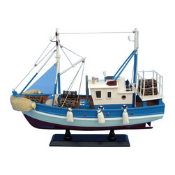 """Handcrafted Model Ships - Outrigger 18"""" - Wooden Model Fishing Boat - Not a model ship kit"""