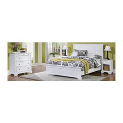 HomeStyles - 3-Pc Queen Bedroom Set - Includes queen headboard, night stand and chest. Footboard, rails and mattress not included. Made from Asian hardwood. White finish. Made in Indonesia. Headboard: . Raised panels on the headboard. Fits most queen bed frames. 65 in. W x 2.5 in. D x 52 in. H. Nightstand: . Storage drawer. Drawer: 10.75 in. W x 10.75 in. D x 4 in. H. Open storage area: 12 in. W x 14 in. D x 11.5 in. H. Overall: 18 in. W x 16 in. D x 24 in. H. Chest: . Four large drawers. Felt-lined top drawer is especially good for jewelry and three additional drawers. Top drawer: 28 in. W x 13 in. D x 2 in. H. Lower drawer: 28 in. W x 13 in. D x 6.5 in. H. Overall: 36 in. W x 16.5 in. D x 36 in. H. Nightstand Assembly Instructions. Headboard Assembly Instructions. Chest Assembly InstructionsA cottage inspired finish and refreshing white finish are the perfect package for bedroom furniture. Including a clear coat finish to help protect against wear and tear stemming from normal use.