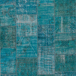 Jaipur Rugs - Hand-Knotted Oriental Pattern Wool Blue Area Rug ( 2x3 ) - These hand knotted patchwork rugs are a mix of overdyed and distressed vintage rugs.