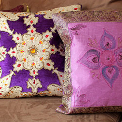 Fun Decorative Pillow Combinations - Beautiful pillow covers from Banarsi Designs transformed ordinary 16x16 pillows into something truly unique!