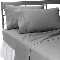 SCALA - 300TC 100% Egyptian Cotton Solid Elephant Grey Olympic Queen Size Sheet Set - Redefine your everyday elegance with these luxuriously super soft Sheet Set . This is 100% Egyptian Cotton Superior quality Sheet Set that are truly worthy of a classy and elegant look.Olympic Queen Size Sheet Set Includes:1 Fitted Sheet 66 Inch(length) X 80 Inch(width) (Top Surface Measurement)1 Flat Sheet 96 Inch(length) X 104 Inch (width)2 Pillowcase 20 Inch(length) X 30 Inch(width)