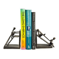 Danya B - Children on a Slide Iron Bookend Set - The children playing on a slide bookend set depicts the great attributes of youth: innocence, playfulness, curiosity and mischief. Hand crafted in iron with tarnish-proof bronze finish with gold patina, this bookend set is stylish enough to adorn the bookshelves of children and adults alike. One of the bookends has a child going up the slide ladder while the other has two children sliding down.Great gift for mothers, grandmothers, teachers and caretakers.