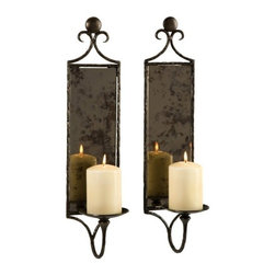 """IMAX - Hammered Mirror Wall Sconce - Set of 2 - Antiqued mirror reflects the dancing light of pillar candles in this set of two wall sconces, eloquently devised with their hammered metal design. Item Dimensions: (20""""h x 5""""w x 5.5"""")"""