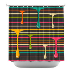 DiaNoche Designs - Drips Shower Curtain - Sewn reinforced holes for shower curtain rings. Shower Curtain Rings Not Included. Dye Sublimation printing adheres the ink to the material for long life and durability. Machine Washable. Made in USA.