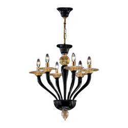 """VetriLamp - VetriLamp Murano 1152/6 Alto Chandelier - The Murano 1152/6 Alto Chandelier has been designed and made in Italy by VetriLamp. This beautifully handcrafted chandelier shows the great skill of Murano Glass workers that has been attained through hundreds of years of quality craftsmanship making each fixture unique. This fixture is available in four finish options.  Product Details: The Murano 1152/6 Alto Chandelier has been designed and made in Italy by VetriLamp. This beautifully handcrafted chandelier shows the great skill of Murano Glass workers that has been attained through hundreds of years of quality craftsmanship making each fixture unique. This fixture is available in four finish options.  Details:                                     Manufacturer:                                      VetriLamp                                                     Designer:                                     VetriLamp                                                     Made in:                                     Italy                                                     Dimensions:                                      Height: 28.3"""" (60cm) X Diameter: 35.4""""(56 cm)                                                     Light bulb:                                      6 X E12 Candelabra base incandescent                                                      Material:                                      Murano Glass"""