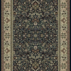 "Dynamic Rugs - Dynamic Rugs Ancient Garden 57078-3434 (Blue, Ivory) 6'7"" x 9'6"" Rug - Turn of the Century Persian patterns are skill fully recreated in this exciting and sophisticated collection. The antique shades from sun-washed colors are blended softly with today's fashion of low contrast patterns with field colors of champagne, dusted blue, soft greens, creme, malt and a luxurious black or ruby red. Woven with DECOLAN, a wool-like fine heat-set polypropylene fibre at nearly a million points per square meter to achieve a fine pencil point finish and design clarity."