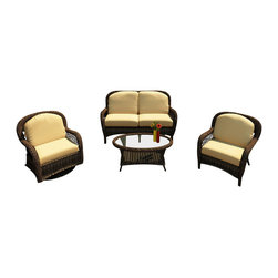 Forever Patio - Leona 4 Piece Wicker Patio Sofa Set, Canvas Wheat Cushions - Give your patio a touch of traditional elegance with the stylish Forever Patio Leona 4 Piece Outdoor Rattan Sofa Set with Gold Sunbrella cushions (SKU FP-LEO-4SS-MC-CW). The set seats 4 adults comfortably, and features Mocha resin wicker with a full round design that creates a complex and luxurious look. Each strand of this outdoor wicker is made from High-Density Polyethylene (HDPE) and is infused with the rich color and UV-inhibitors that prevent cracking, chipping and fading ordinarily caused by sunlight, surpassing the quality of natural rattan. The patio sofa set is supported by thick-gauged, powder-coated aluminum frames that make it extremely durable and resistant to corrosion. Also included are cushions covered in fade- and mildew-resistant Sunbrella fabric. The deep-seated design and plush cushioning make this outdoor sofa set as comfortable as having an outdoor living room.