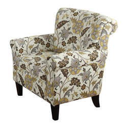 Coaster - Coaster Club Chair in Brown Flower Motif - Coaster - Club Chairs - 902082 - Draped in a dual-colored (black and brown) woven fabric the Rosalie collection offers ultimate comfort and style. Add a splash of color and liveliness to your room with four accent pillows on both sofa and love seat. And to complete the ensemble pair these pieces with a matching floral accent chair. Features solid wood legs pocket coil spring seating and clean poly fill cushions.