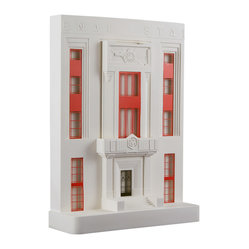"Chisel & Mouse - Arsenal Stadium - Tackle your love of architecture with this striking re-creation of the famed Arsenal Stadium's ""East Stand."" The 1930's art deco facade, brought to life with plaster and adorned with etched brass for doors and window frames, is smooth and cool. There's no penalty for showcasing several on desks and shelves."