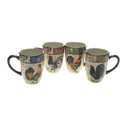 Certified International - Certified International Lille Rooster 20-oz Mugs (Set of 4) - Bring the beauty of the farm into your kitchen with this set of cheery 20-ounce mugs. Each ceramic coffee mug features a different hand-painted design of a proud rooster. Clean up is a snap because these cups are safe for the dishwasher.