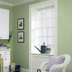 """Levolor Riviera One Mini Blinds - The better 1"""" metal blind option. Integrated valance provides a contemporary appearance. LightMaster option available. 6 gauge premium slats."""