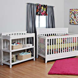 "Child Craft - Logan 2-in-1 Convertible Crib Set - Logan Lifetime Convertible Crib (Item # F34701): Country roots partnered with contemporary soul make the Logan Crib a stylish and inviting choice for your nursery. The versatile design of this crib fits any decor. Sides are completely stationary. Optional Toddler Guard Rail (F09514) offers extra security to the child transitioning from the crib to toddler bed. Crib can also be converted to a full size bed later. Full size bed rails (F06454) are available separately. Crib includes Limited, Lifetime Warranty. All necessary parts for conversion from a crib to a toddler bed are included. Made of all wood construction with non-toxic. 2 Position mattress height adjustment. (Crib mattress sold separately). All screws fit into metal bushings so you may safely convert this bed as many times as necessary without sacrificing structural integrity. Compliant with all mandatory and voluntary standards including 16CFR 1219, ASTM-F1169, ASTM-F966 and ASTM-F1821. JPMA Certified. Features: -Logan collection. -Logan lifetime convertible crib and logan changing table included in set. -Solid wood construction. -Contemporary style. -Crib can convert from crib to toddler bed with included parts. -2 position mattress height adjustment. -Non toxic, baby-safe finish. -Sides are completely stationary. -Optional toddler guard rail sold separately. -Safely convert this bed without sacrificing structural integrity. -JPMA Certified. -Manufacturer provides limited lifetime warranty. Dimensions: -Crib: 44"" H x 57"" W x 31.5"" D, 75 lbs. -Table: 41.2"" H x 39.5"" W x 19.2"" D, 48 lbs."