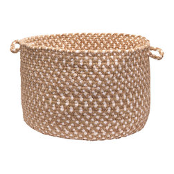 """Colonial Mills - Blokburst Chenille Storage Basket - Natural, 18"""" x 12"""" - A braided storage basket in colors to love for any room. Made of soft Natural color chenille, it's built to organize yarn in the craft room to diapers in the nursery."""