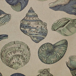 Seashell fabric nautilus sea glass green blue aqua, Standard Cut - A seashell fabric done in sea glass tones of blue and aqua with a very large scale indeed! There are scallops, nautilus, conchs, and many others. The background fabric is listed in the solid fabric category.