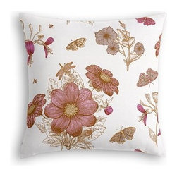 Pink Sketched Floral Print Custom Euro Sham - The secret to those perfectly made beds you eye in magazines? Euro shams. Complete your bed set with a set of Simple Euro Shams for a look that's as stylish as it is snuggly.  We love it in this pink and brown feminine floral that evokes traditional hand sketched botanical drawings.
