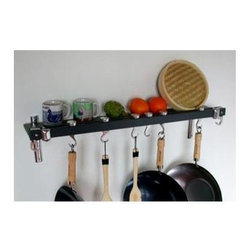 Taylor and Ng - Track Wall Pot Rack in Anthracite Grey Finish - Optional eight hanging links. Wall mounted. Made from bamboo and cast aluminum. Rectangular shape. Burnished bamboo finish. Distance from ceiling: 22 in.. Hanging link: 1.13 in. L x 0.19 in. W x 3 in. H (0.38 lbs.). Pot rack with hooks, wall brackets and shelf: 36 in. W x 2 in. D x 8 in. H. Pot rack: 36 in. W x 8.38 in. D x 8.63 in. H (7 lbs.). Includes mounting hardware, instructions booklet, seven pan hooks, two swivel hooks, two bars, wall brackets and screws. Assembly required. Made in Taiwan. 360 degree swivel hooks. Mounts directly to studs 32 in. on center. Two sturdy aluminum wall brackets. Wall brackets support to 5 in. wide matching bamboo shelf to hold spice jars, cookware covers and pantry ware