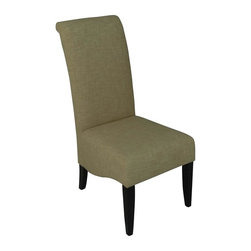 Carolina Accents - Cameron Roll-Back Dining Chair in Straw & Espresso Finish - Set of 2 - Graceful curved design elements bring a touch of elegance to these contemporary dining side chairs, a spirited addition to your dining room decor. A perfect way to bring formal and casual styles together, the chairs have wood frames in espresso finish and are upholstered in straw. They are sold in a set of two. Set of 2. Generous size seat. Thickly padded for extra comfort and durability. Smoothly tapered hardwood legs. Linen look polyester fabric seat. Espresso finish. 19.5 in. W x 29.88 in. D x 41.75 in. H